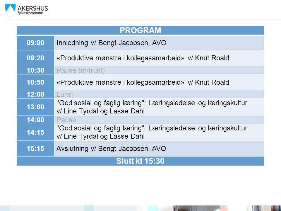 PROGRAM 09:00Innledning v/ Bengt Jacobsen, AVO 09:20«Produktive mønstre i kollegasamarbeid» v/ Knut Roald 10:30Pause (m/frukt) 10:50«Produktive mønstr