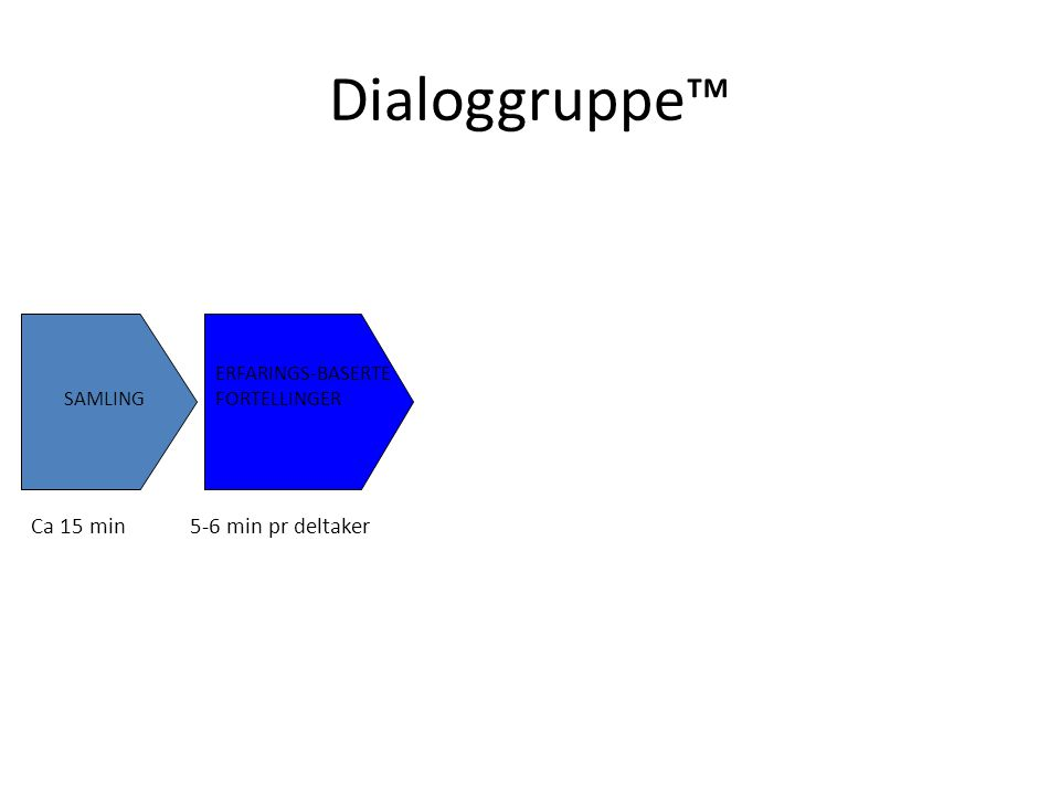 Dialoggruppe SAMLING ERFARINGS-BASERTE FORTELLINGER VALG AV TEMA Ca 15 min5-6 min pr deltakerinntil 15 min