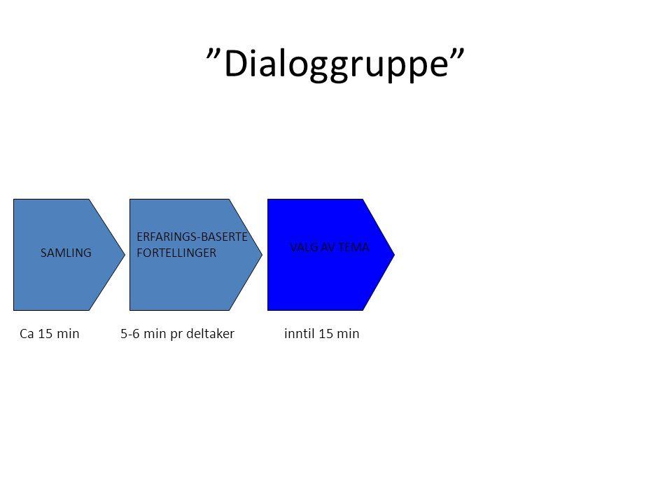 Dialoggruppe SAMLING ERFARINGS-BASERTE FORTELLINGER TEMASAMTALE ELLER REFLEKTERENDE GRUPPESAMTALE VALG AV TEMA Ca 15 min5-6 min pr deltakerinntil 15 min2 timer