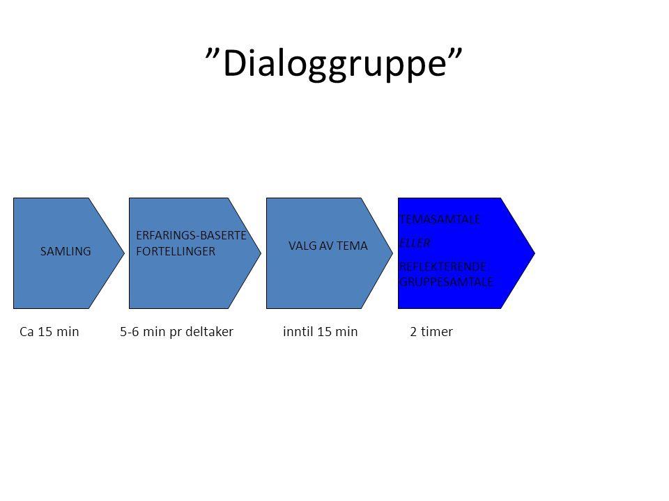 Dialoggruppe™ SAMLING ERFARINGS-BASERTE FORTELLINGER TEMASAMTALE ELLER REFLEKTERENDE GRUPPESAMTALE AVRUNDING Ca 2 min pr deltaker VALG AV TEMA Ca 15 min5-6 min pr deltakerinntil 15 min 2 timer