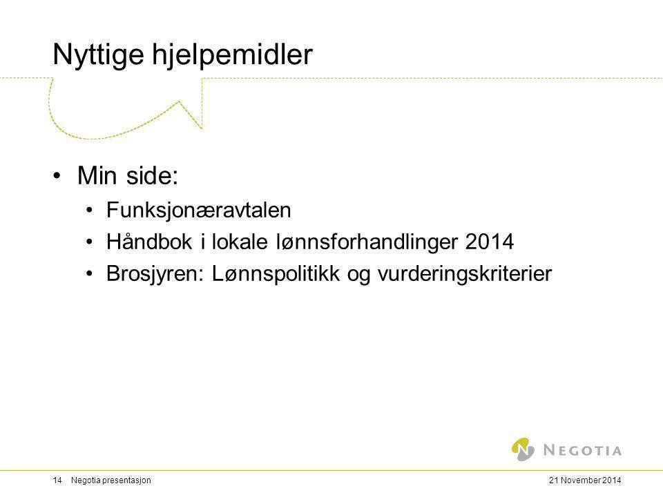 Nyttige hjelpemidler Min side: Funksjonæravtalen Håndbok i lokale lønnsforhandlinger 2014 Brosjyren: Lønnspolitikk og vurderingskriterier 21 November