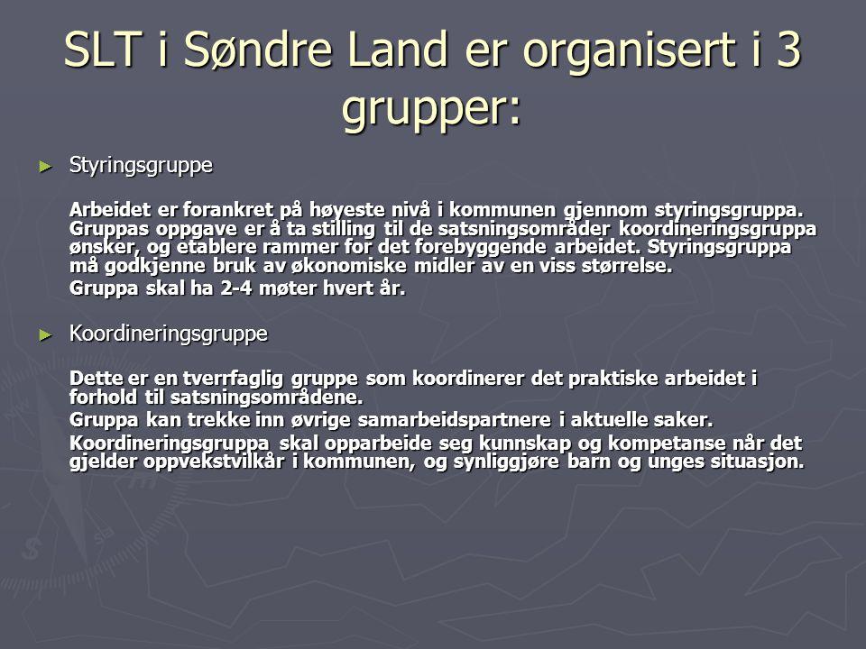 SLT i Søndre Land er organisert i 3 grupper: ► Styringsgruppe Arbeidet er forankret på høyeste nivå i kommunen gjennom styringsgruppa. Gruppas oppgave