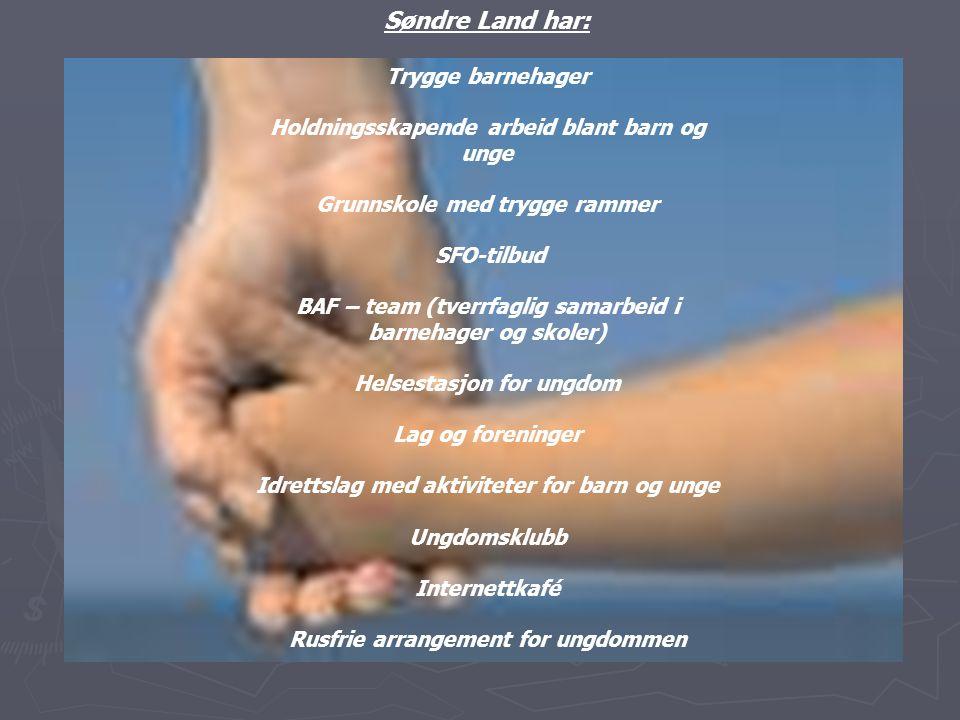 Søndre Land har: Trygge barnehager Holdningsskapende arbeid blant barn og unge Grunnskole med trygge rammer SFO-tilbud BAF – team (tverrfaglig samarbe