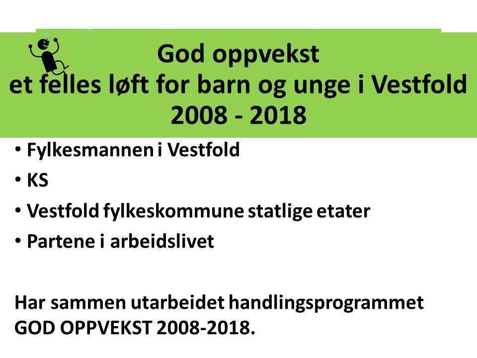 God oppvekst et felles løft for barn og unge i Vestfold 2008 - 2018 Fylkesmannen i Vestfold KS Vestfold fylkeskommune statlige etater Partene i arbeid