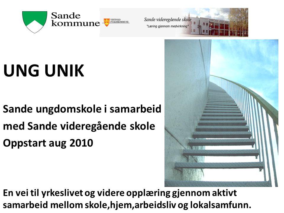 UNG UNIK Sande ungdomskole i samarbeid med Sande videregående skole Oppstart aug 2010 En vei til yrkeslivet og videre opplæring gjennom aktivt samarbe
