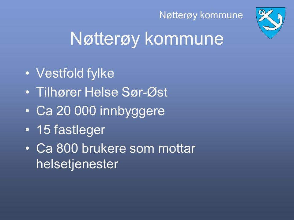 """Nøtterøy kommune """"Veien til elektronisk samhandling i pleie og omsorg, -fase 1"""" Erfaringer etter avsluttet forprosjekt Mål for videre fremdrift av pro"""