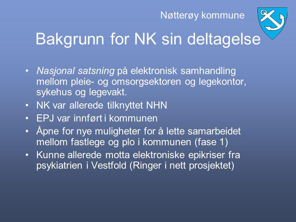 Nøtterøy kommune Vestfold fylke Tilhører Helse Sør-Øst Ca 20 000 innbyggere 15 fastleger Ca 800 brukere som mottar helsetjenester