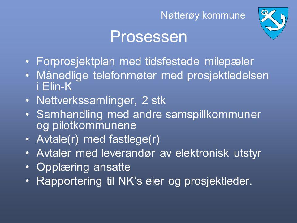 Nøtterøy kommune Bakgrunn for NK sin deltagelse Nasjonal satsning på elektronisk samhandling mellom pleie- og omsorgsektoren og legekontor, sykehus og legevakt.