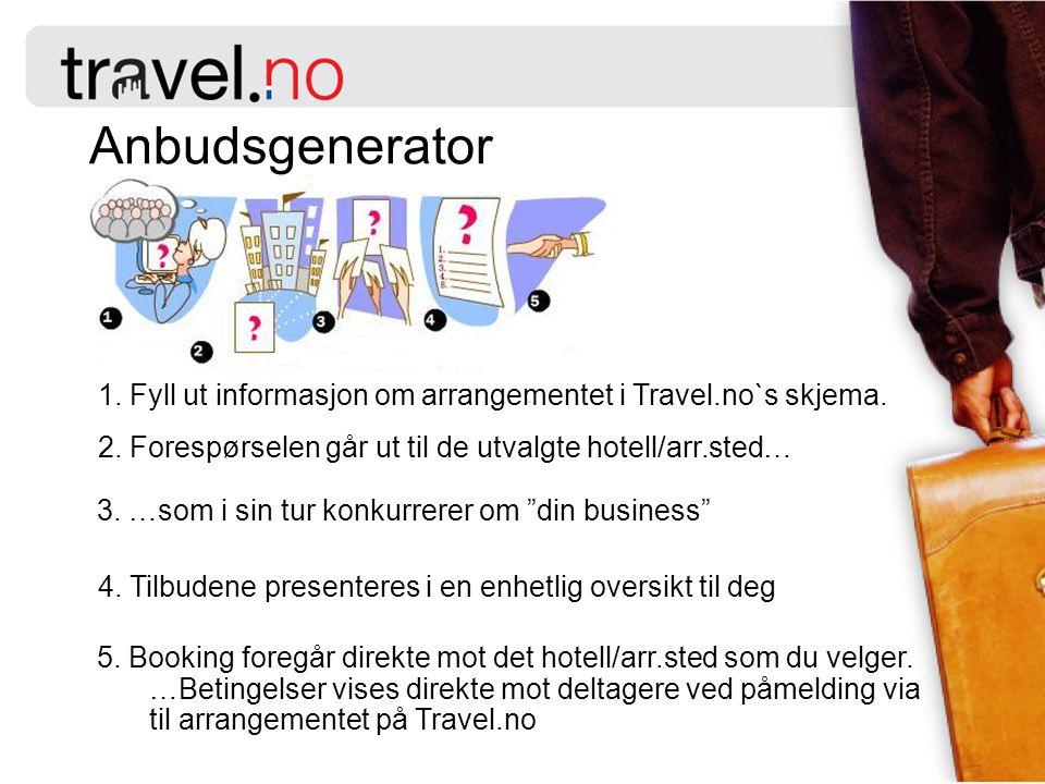 1.Fyll ut informasjon om arrangementet i Travel.no`s skjema.
