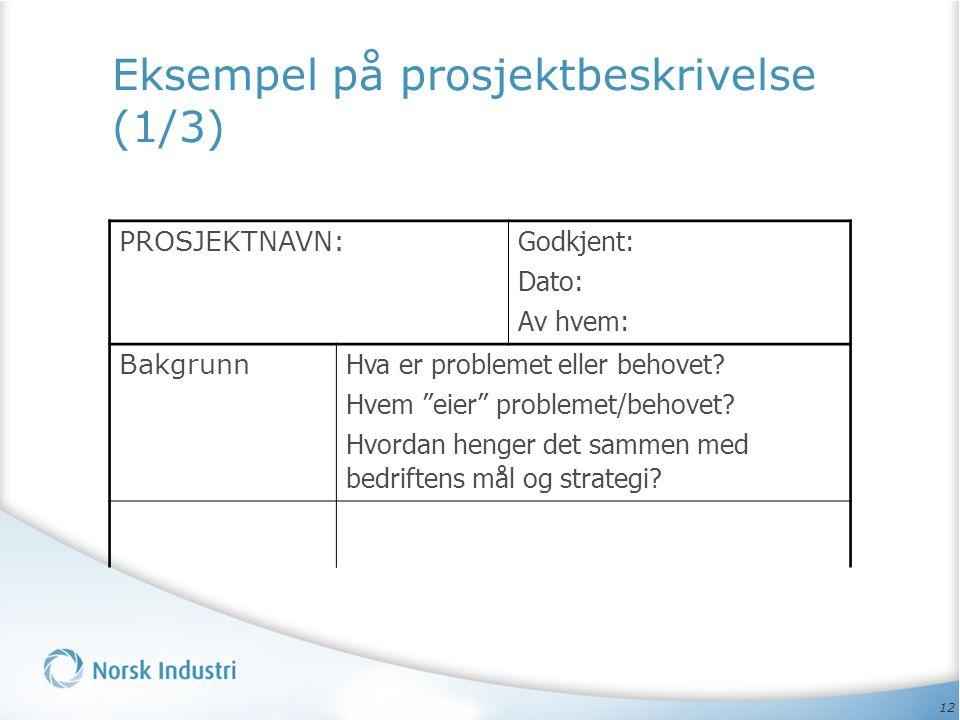 """12 Eksempel på prosjektbeskrivelse (1/3) PROSJEKTNAVN: Godkjent: Dato: Av hvem: Bakgrunn Hva er problemet eller behovet? Hvem """"eier"""" problemet/behovet"""