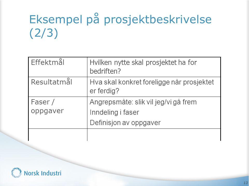 13 Eksempel på prosjektbeskrivelse (2/3) Effektmål Hvilken nytte skal prosjektet ha for bedriften? Resultatmål Hva skal konkret foreligge når prosjekt