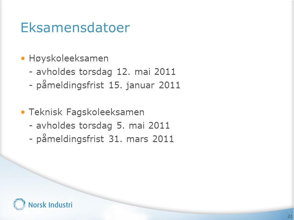 21 Eksamensdatoer Høyskoleeksamen - avholdes torsdag 12. mai 2011 - påmeldingsfrist 15. januar 2011 Teknisk Fagskoleeksamen - avholdes torsdag 5. mai