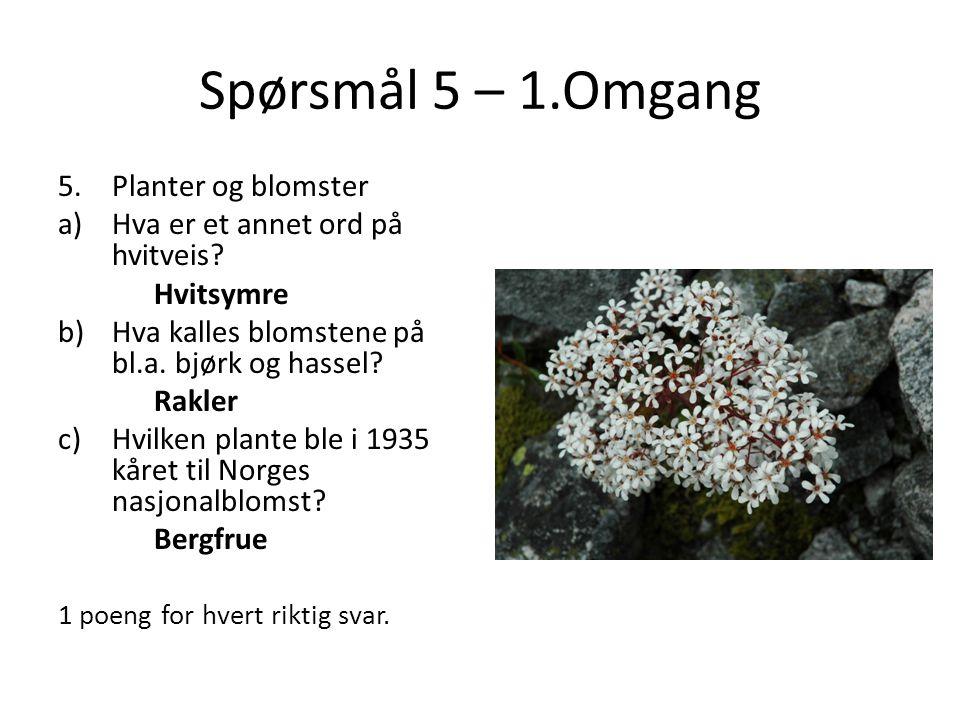 Spørsmål 5 – 1.Omgang 5.Planter og blomster a)Hva er et annet ord på hvitveis? Hvitsymre b)Hva kalles blomstene på bl.a. bjørk og hassel? Rakler c)Hvi