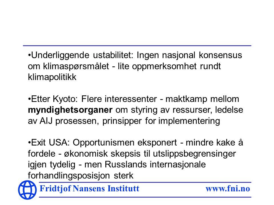 Fridtjof Nansens Institutt www.fni.no Idag nytt internt spill: Kommersielle aktører mer engasjert Rivalisering om prinsipper for fordeling av kvoter: Store utslippere ser muligheter for prosjektmekanismen - motstandere av salg av overskuddskvoter El-industrien pådriver for ratifisering Gazprom også engasjert Men: Oljeindustrien sterkeste lobby