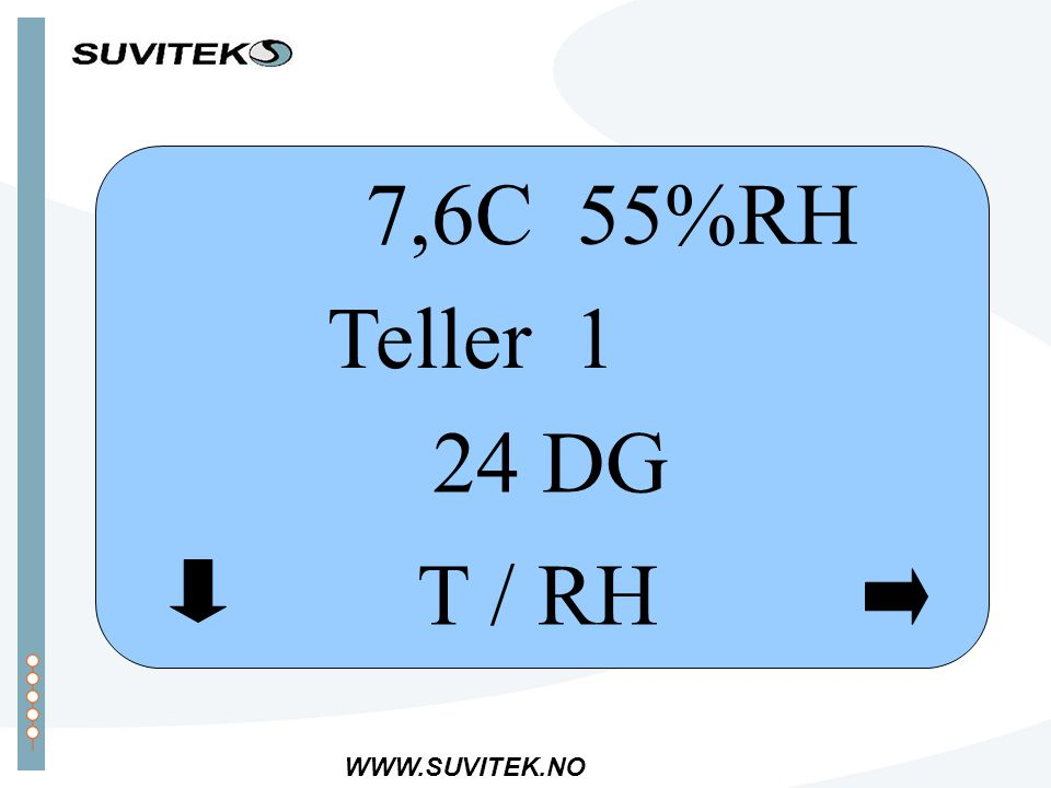 WWW.SUVITEK.NO T / RH 7,6C 55%RH Teller 1 24 DG