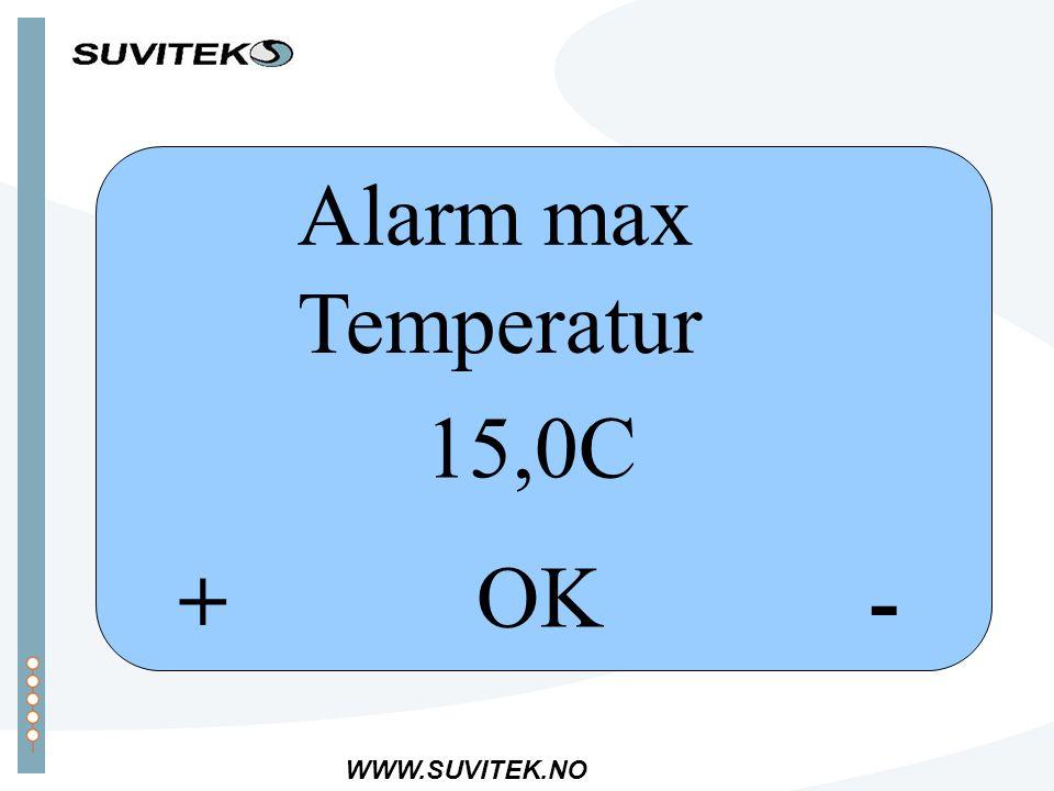 WWW.SUVITEK.NO -+ OK Alarm max Temperatur 15,0C