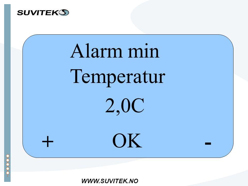 WWW.SUVITEK.NO -+ OK Alarm min Temperatur 2,0C