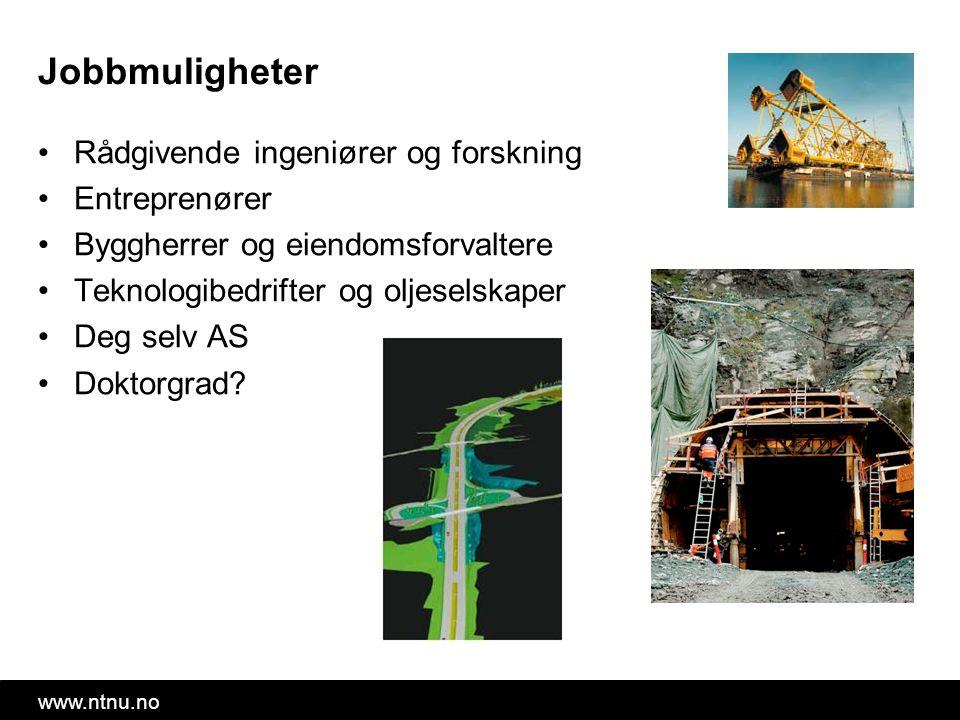 www.ntnu.no Jobbmuligheter Rådgivende ingeniører og forskning Entreprenører Byggherrer og eiendomsforvaltere Teknologibedrifter og oljeselskaper Deg selv AS Doktorgrad