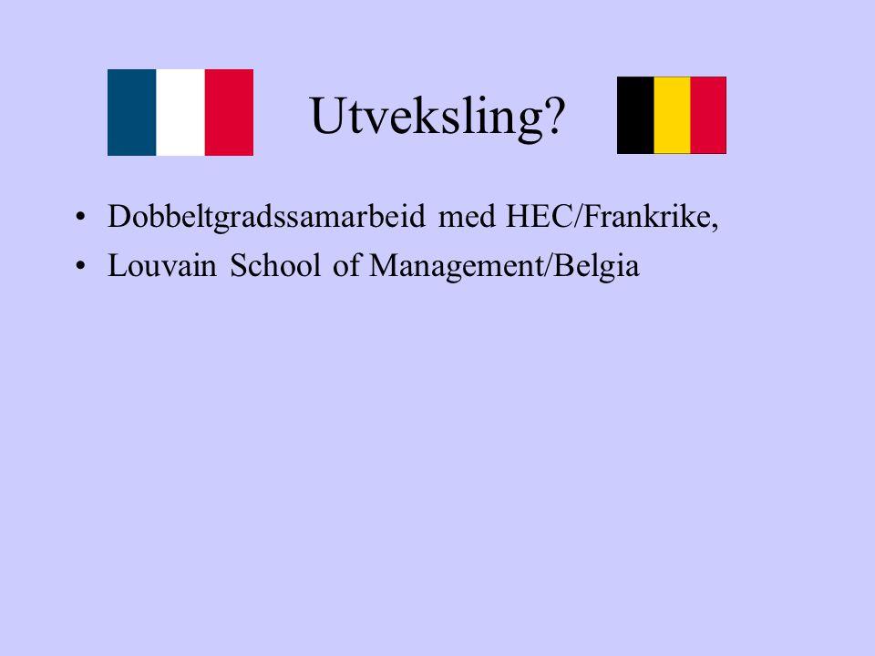 Utveksling? Dobbeltgradssamarbeid med HEC/Frankrike, Louvain School of Management/Belgia