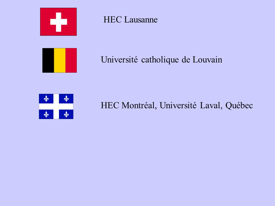Université catholique de Louvain HEC Montréal, Université Laval, Québec HEC Lausanne