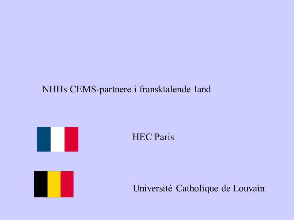 NHHs CEMS-partnere i fransktalende land HEC Paris Université Catholique de Louvain