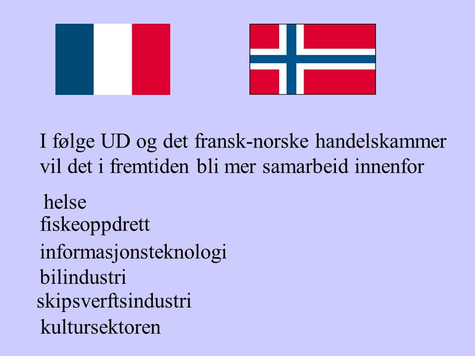 I følge UD og det fransk-norske handelskammer vil det i fremtiden bli mer samarbeid innenfor helse fiskeoppdrett informasjonsteknologi bilindustri skipsverftsindustri kultursektoren