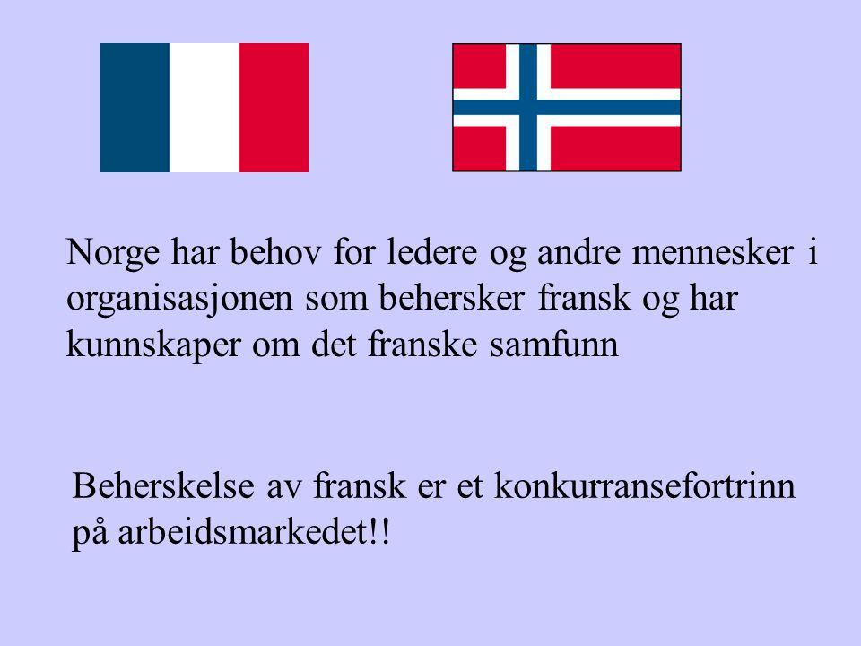 Norge har behov for ledere og andre mennesker i organisasjonen som behersker fransk og har kunnskaper om det franske samfunn Beherskelse av fransk er