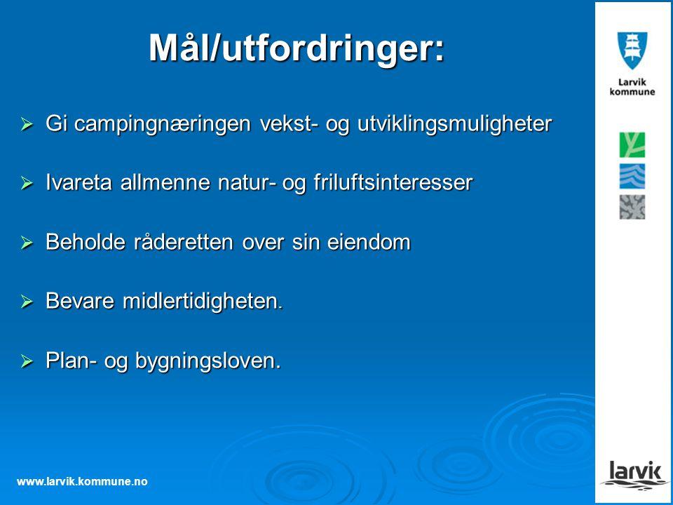 www.larvik.kommune.no Mål/utfordringer:  Gi campingnæringen vekst- og utviklingsmuligheter  Ivareta allmenne natur- og friluftsinteresser  Beholde
