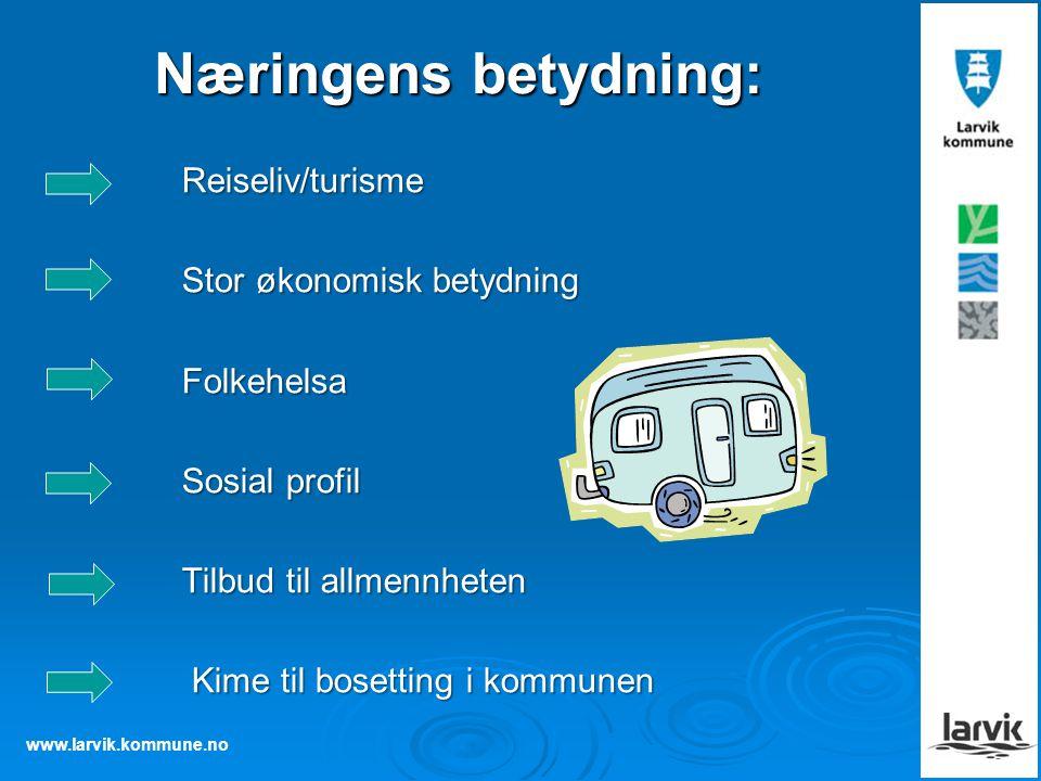 www.larvik.kommune.no Næringens betydning: Reiseliv/turisme Reiseliv/turisme Stor økonomisk betydning Stor økonomisk betydning Folkehelsa Folkehelsa S