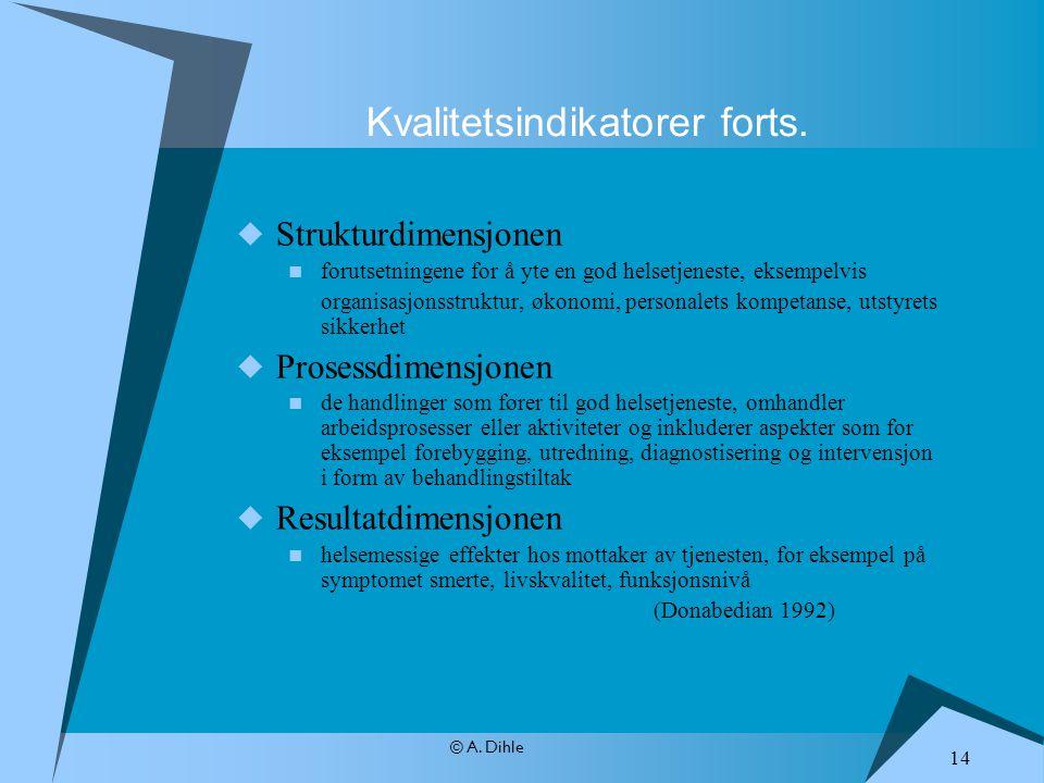 © A. Dihle  Strukturdimensjonen forutsetningene for å yte en god helsetjeneste, eksempelvis organisasjonsstruktur, økonomi, personalets kompetanse, u