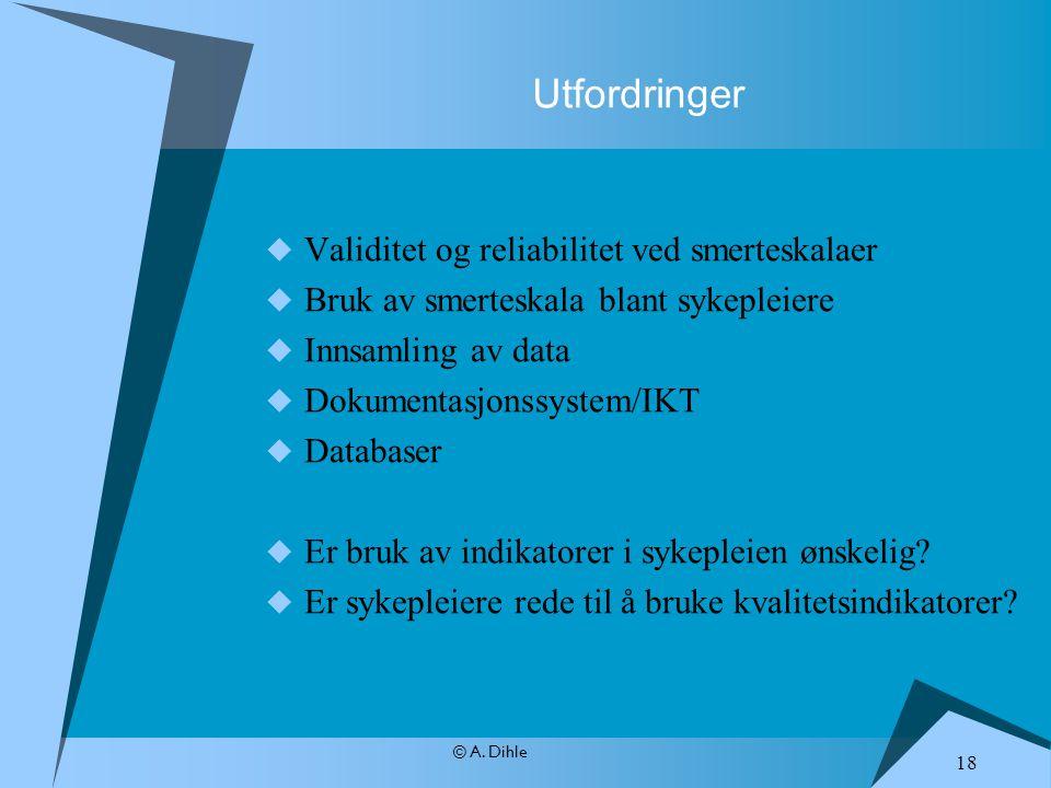 © A. Dihle Utfordringer  Validitet og reliabilitet ved smerteskalaer  Bruk av smerteskala blant sykepleiere  Innsamling av data  Dokumentasjonssys
