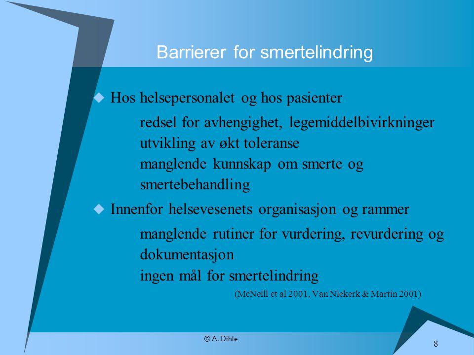 © A. Dihle  Hos helsepersonalet og hos pasienter redsel for avhengighet, legemiddelbivirkninger utvikling av økt toleranse manglende kunnskap om smer