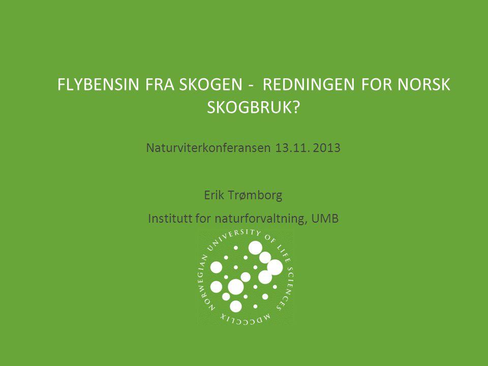 NORWEGIAN UNIVERSITY OF LIFE SCIENCES www.umb.no TEMA  Biodrivstoff: Flytende drivstoff laget av organisk materiale/ biomasse (cellulose fra skogråstoff, avfall, energivekster)  Sterk økning de siste 10 årene, ca 3% av drivstoff-forbruket internasjonalt  Status i Norge: –Omsetningskrav på 3,5%.