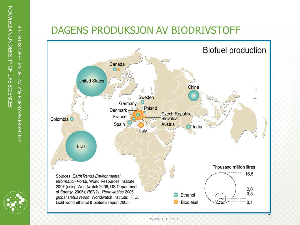 NORWEGIAN UNIVERSITY OF LIFE SCIENCES www.umb.no 4 Første generasjon (biodiesel og bioetanol) Laget av jordbruksprodukter (mais, raps, sukker) eller fettholdig avfall Tilgjengelig på markedet i dag Begrenset CO 2 - potensial Bekymringer rundt tilgang på råstoff, påvirkning på biodiversitet, effekt på matvarepriser Begrenset råstoffpotensial i Norge (lite dyrket areal + jordbrukspolitikk)