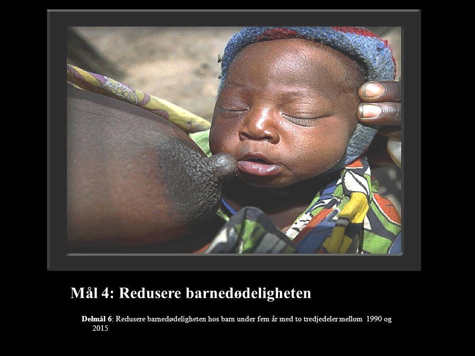 Mål 4: Redusere barnedødeligheten Delmål 6: Redusere barnedødeligheten hos barn under fem år med to tredjedeler mellom 1990 og 2015