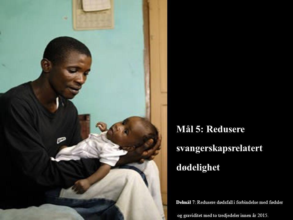 Mål 5: Redusere svangerskapsrelatert dødelighet Delmål 7: Redusere dødsfall i forbindelse med fødsler og graviditet med to tredjedeler innen år 2015.