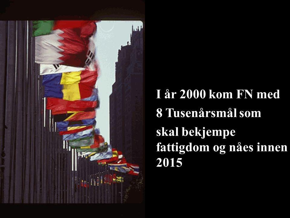 –I år 2000 kom FN med –8 Tusenårsmål som –skal bekjempe fattigdom og nåes innen 2015