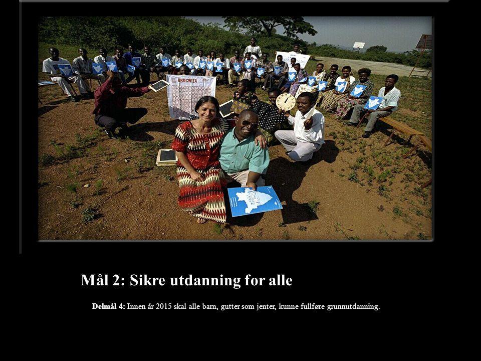 Mål 2: Sikre utdanning for alle Delmål 4: Innen år 2015 skal alle barn, gutter som jenter, kunne fullføre grunnutdanning.