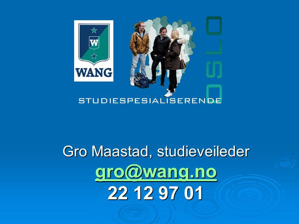 Gro Maastad, studieveileder gro@wang.no 22 12 97 01 gro@wang.no