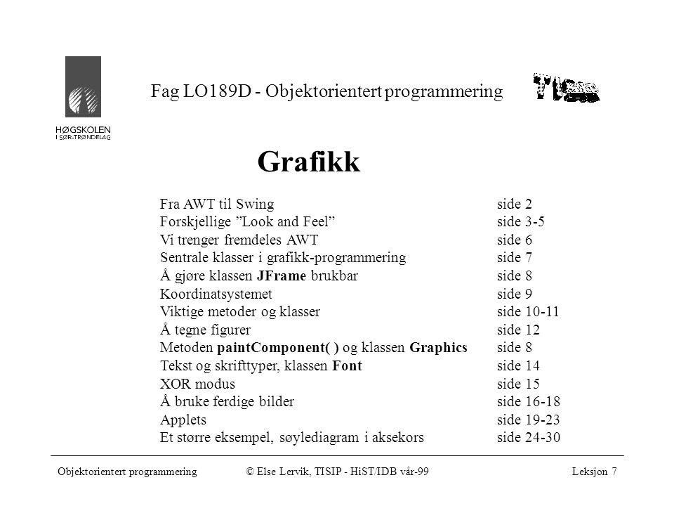 Objektorientert programmering© Else Lervik, TISIP - HiST/IDB vår-99Leksjon 7, side 2 Fra AWT til Swing Graphical User Interface = GUI Biblioteker med ferdige GUI-komponenter som vinduer, trykknapper, listebokser, etc.
