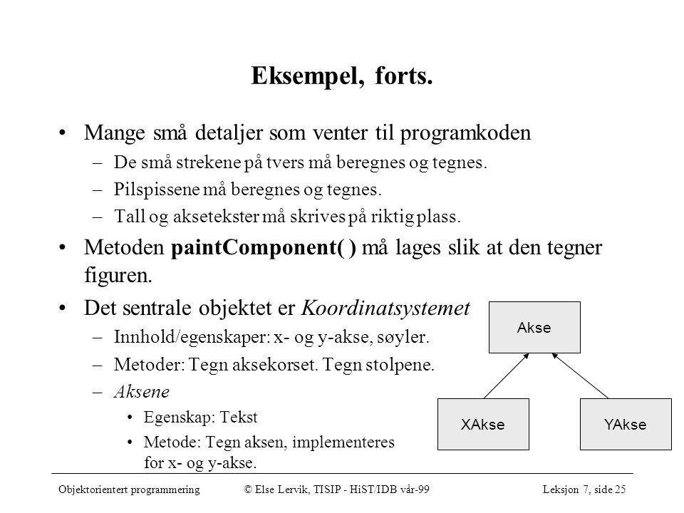 Objektorientert programmering© Else Lervik, TISIP - HiST/IDB vår-99Leksjon 7, side 25 Eksempel, forts.