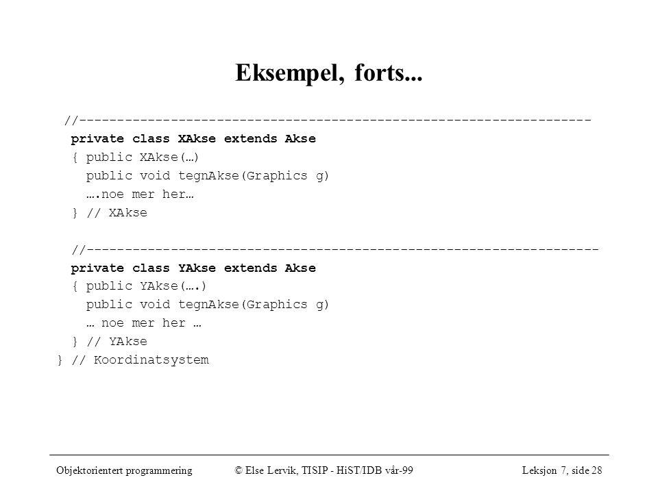 Objektorientert programmering© Else Lervik, TISIP - HiST/IDB vår-99Leksjon 7, side 28 Eksempel, forts...