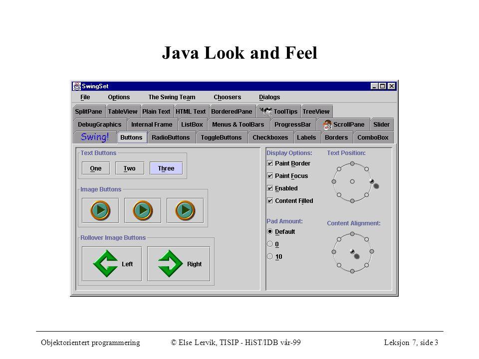 Objektorientert programmering© Else Lervik, TISIP - HiST/IDB vår-99Leksjon 7, side 14 import java.awt.*; import javax.swing.*; class FontOgTekstVindu extends CloseableFrame { public FontOgTekstVindu() { setSize(600, 300); setTitle( Tester utskrift til grafikkflate ); Container innhold = getContentPane(); Tegning t = new Tegning(); t.setBackground(Color.yellow); t.setForeground(Color.black); innhold.add(t); } // FontOgTekstVindu class Tegning extends JPanel { public void paintComponent(Graphics g) { super.paintComponent(g); g.drawString( Først en tekst med standardfonten. , 40, 60); Font [] fonter = new Font[3]; fonter[0] = new Font( SansSerif , Font.BOLD, 16); fonter[1] = new Font( Serif , Font.BOLD, 18); fonter[2] = new Font( Dialog , Font.BOLD + Font.ITALIC, 20); for (int i = 0; i < fonter.length; i++) { g.setFont(fonter[i]); g.drawString( Dette er skrevet med font +fonter[i].getName(),40,100+40*i); } } // paintComponent } // Tegning Tekst og skrifttyper, klassen Font testvindu som før