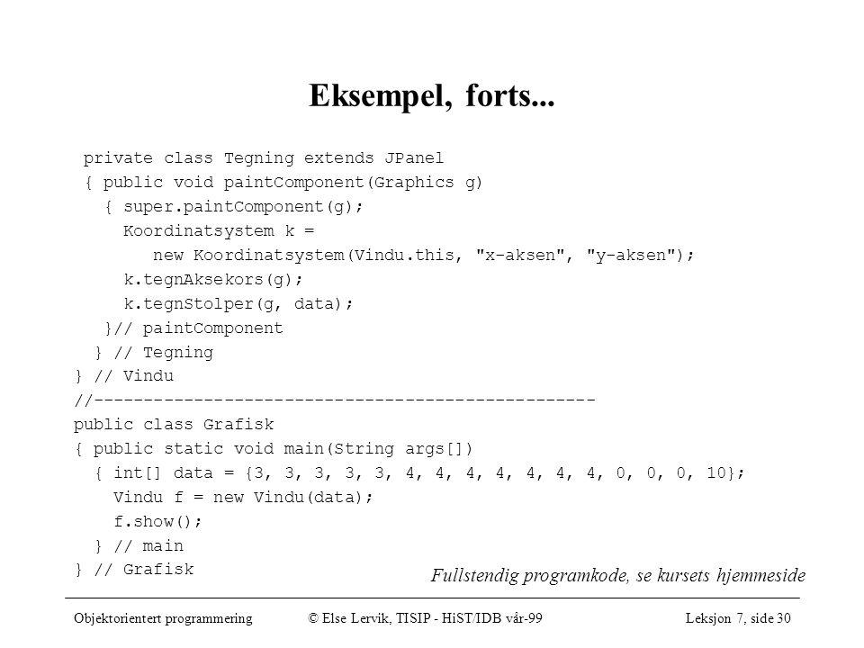 Objektorientert programmering© Else Lervik, TISIP - HiST/IDB vår-99Leksjon 7, side 30 Eksempel, forts...