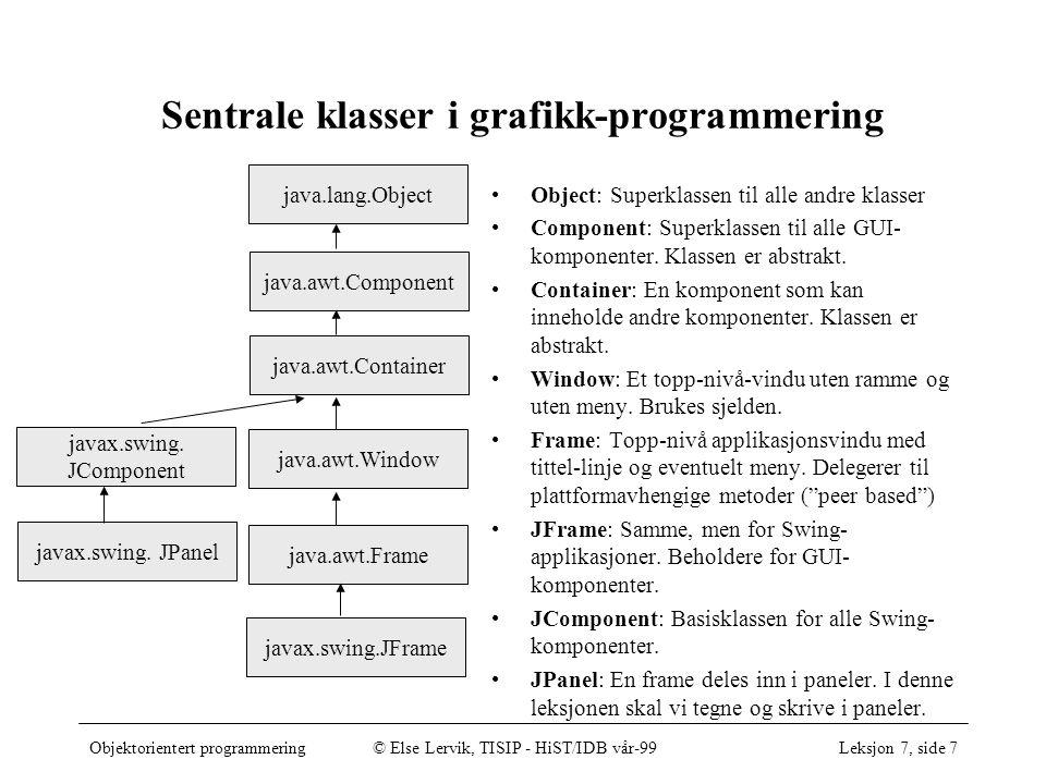 Objektorientert programmering© Else Lervik, TISIP - HiST/IDB vår-99Leksjon 7, side 7 Sentrale klasser i grafikk-programmering java.lang.Object java.awt.Component java.awt.Container java.awt.Window java.awt.Frame Object: Superklassen til alle andre klasser Component: Superklassen til alle GUI- komponenter.