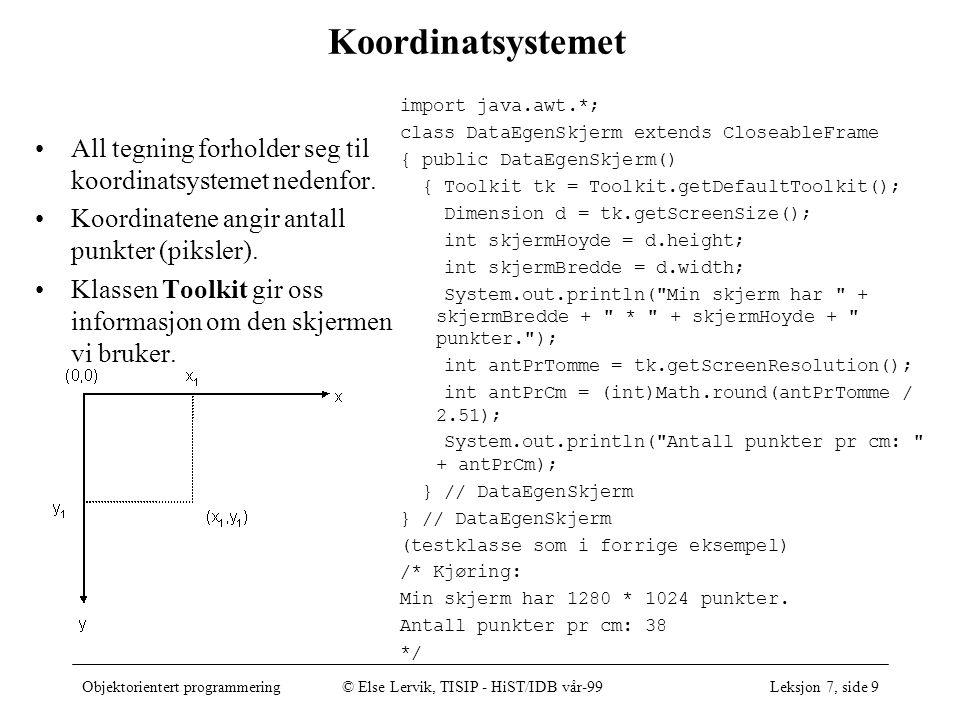 Objektorientert programmering© Else Lervik, TISIP - HiST/IDB vår-99Leksjon 7, side 10 Viktige metoder og klasser Arv fra klassen Frame –void setTitle(String tittel); –void setResizable(boolean resizable); –void setIconImage(Image ikon); Arv fra klassen Window –void toFront(); –void toBack(); –void show(); Arv fra klassen Component –boolean contains(Point p); –void setBackground(Color c); –void setForeground(Color c); –void setVisible(boolean b); –boolean isVisible(); –void setEnabled(boolean b); –boolean isEnabled(); Klassen Point –Point(int x, int y); –boolean equals(Object obj); –void move(int x, int y); –void translate(int x, int y); Klassen Color –Color(int r, int g, int b); –static final Color black, blue, cyan, drakGrey, gray, green, lightGray, magenta, orange, pink, red, white, yellow –Color brighter(); –Color darker();
