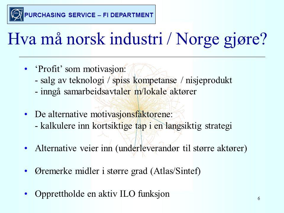PURCHASING SERVICE – FI DEPARTMENT 6 Hva må norsk industri / Norge gjøre.