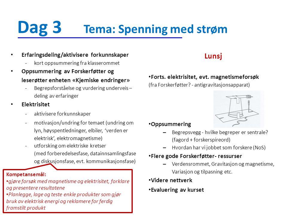 Dag 3 Tema: Spenning med strøm Lunsj Forts. elektrisitet, evt. magnetismeforsøk (fra Forskerføtter? - antigravitasjonsapparat) Oppsummering – Begrepsv