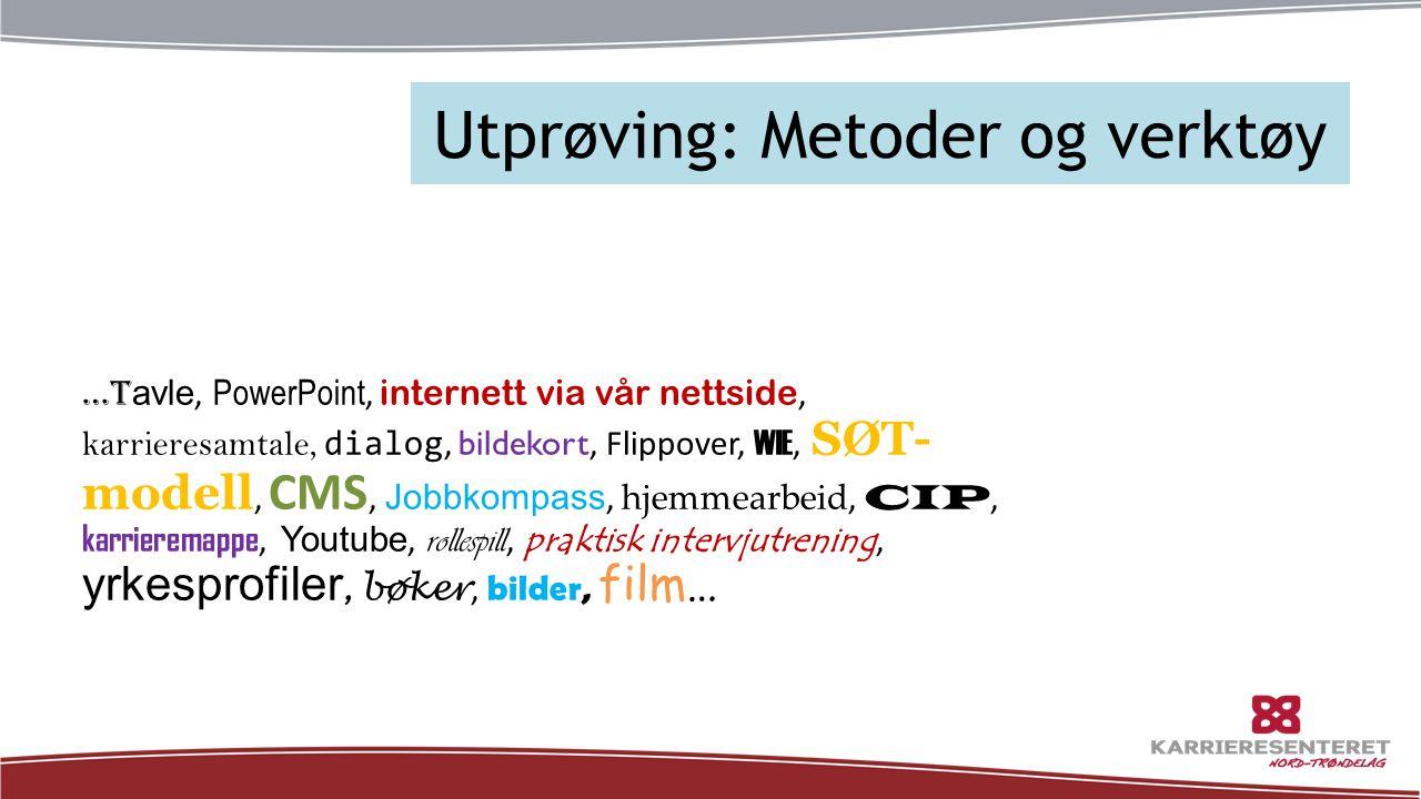 Utprøving: Metoder og verktøy …t avle, PowerPoint, internett via vår nettside, karrieresamtale, dialog, bildekort, Flippover, WIE, SØT- modell, CMS, J