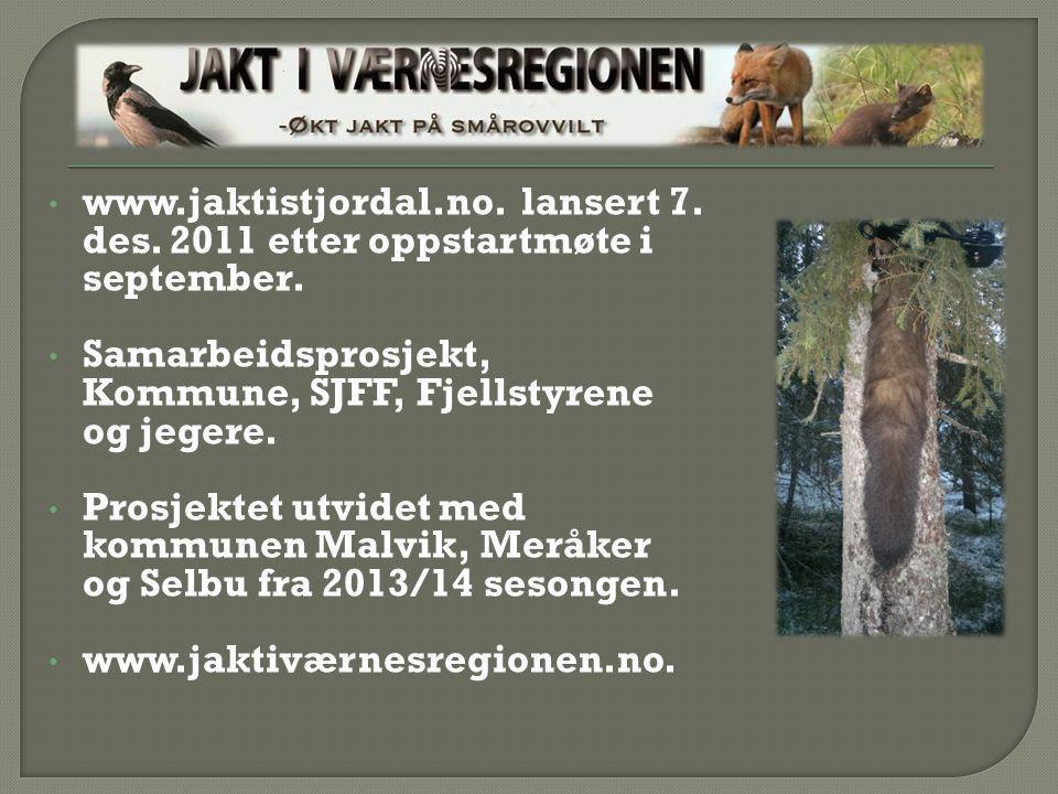 www.jaktistjordal.no. lansert 7. des. 2011 etter oppstartmøte i september. Samarbeidsprosjekt, Kommune, SJFF, Fjellstyrene og jegere. Prosjektet utvid